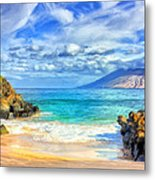 Private Beach At Wailea Maui Metal Print
