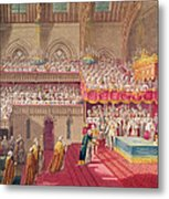 Procession Of The Dean And Prebendaries Of Westminster Bearing The Regalia, From An Album Metal Print