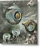 Professor Beebe In His  Bathysphere Metal Print