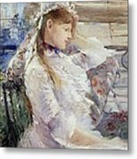 Profile Of A Seated Young Woman Metal Print