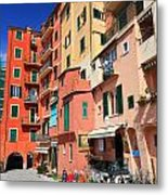 promenade and homes in Camogli Metal Print