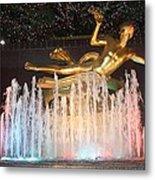Prometheus Greek Statue In Rockefeller Ice Rink Metal Print