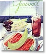 Prosciutto, Melon, Olives, Celery And A Glass Metal Print