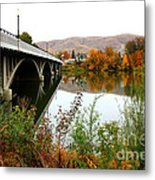 Prosser Bridge And Fall Colors On The River Metal Print