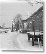 Prosser Winter Train Station  Metal Print