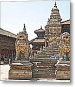 Protector Sculptures Near The Boundary Of Bhaktapur Durbar Square In Bhaktapur-nepal Metal Print