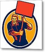 Protester Activist Union Worker Placard Sign Retro Metal Print
