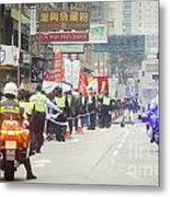 Protesters March Against Hong Kong Leader Metal Print