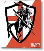 Proud To Be English Happy St George Day Retro Poster Metal Print
