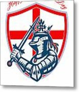 Proud To Be English Happy St George Day Shield Card Metal Print by Aloysius Patrimonio