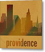 Providence Rhode Island City Skyline Watercolor On Parchment Metal Print