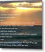 Psalm 23 Beach Sunset Metal Print
