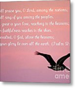 Psalm With Pelican And Pink Sky Metal Print
