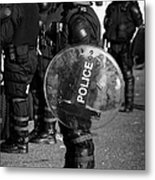 Psni Officer In Full Riot Gear With Shield On Crumlin Road At Ardoyne Shops Belfast 12th July Metal Print by Joe Fox