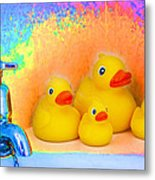Psychedelic Ducks And Faucet Metal Print