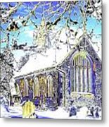 Psychedelic English Village Church In Winter Metal Print