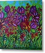 Psychedelic  Flower Garden Metal Print