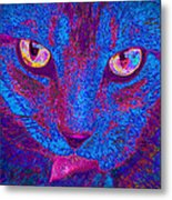 Psychedelic Kitty Metal Print