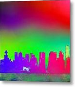 Psychedelic Vancouver Skyline Triptych Centre Metal Print