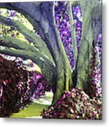 Psychedelic Purple Fuschsia Earthy Tree Street Landscape Los Angeles Cool Artistic Affordable Art Metal Print