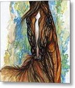 Psychodelic Chestnut Horse Original Painting Metal Print