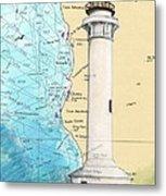 Pt Arena Lighthouse Ca Nautical Chart Map Art Cathy Peek Metal Print