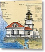 Pt Bonita Lighthouse Ca Nautical Chart Map Art Metal Print