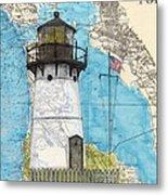 Pt Montara Lighthouse Ca Nautical Chart Map Art Cathy Peek Metal Print