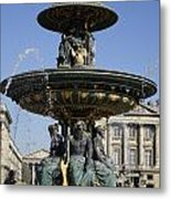 Public Fountain At The Place De La Concorde In Paris France Metal Print