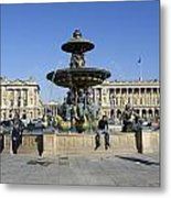 Public Fountain At The Place De La Concorde Metal Print
