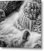 Puddle On The Rock Bw Metal Print