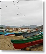 Puerto Lopez Beach And Boats Metal Print