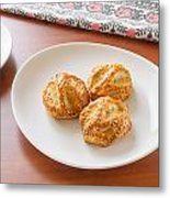 Puff With Chicken Mushrooms And Sesame Metal Print