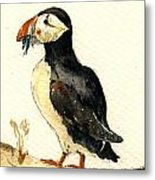 Puffin With Fishes Metal Print