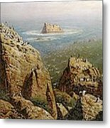 Puffins On Lundy Island Oil On Canvas Metal Print