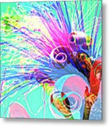 Puffy Bloom W Bee Abstract Metal Print