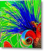 Puffy Bloom W Bee In Rainbow Metal Print