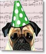 Pug In A Party Hat Metal Print