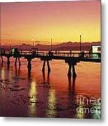 Puget Sound Olympic Mountains Fishing Pier Metal Print