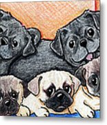 Pugs Party Of Five Metal Print