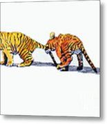 Pulling A Tiger By The Tail Metal Print