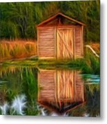 Pump House Reflection Metal Print