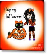 Pumpkin And Halloween Cat Metal Print