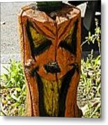 Pumpkin Carved Stump Metal Print