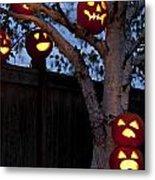 Pumpkin Escape Over Fence Metal Print
