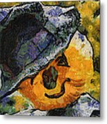 Pumpkin Face Photo Art 05 Metal Print