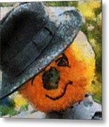 Pumpkin Face Photo Art 06 Metal Print