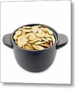 Pumpkin Seeds In A Black Cup Metal Print