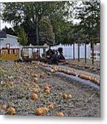 Pumpkin Train Metal Print