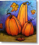 Pumpkin Trio Metal Print